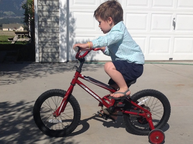 3.) Here is Zekee on his Bicycle Ship