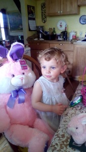 And a grandchild with a pink bunny with purple ears!