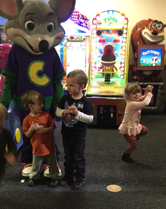 Dancing a jig, Chuckie with friends!